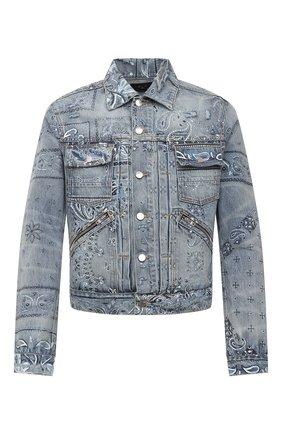 Мужская джинсовая куртка AMIRI синего цвета, арт. MDT002-408 | Фото 1 (Длина (верхняя одежда): Короткие; Материал внешний: Хлопок; Рукава: Длинные; Кросс-КТ: Куртка, Деним; Стили: Гранж)