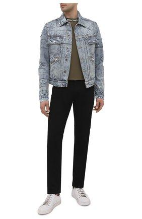 Мужская джинсовая куртка AMIRI синего цвета, арт. MDT002-408 | Фото 2 (Длина (верхняя одежда): Короткие; Материал внешний: Хлопок; Рукава: Длинные; Кросс-КТ: Куртка, Деним; Стили: Гранж)