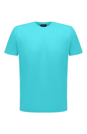 Мужская хлопковая футболка DIESEL бирюзового цвета, арт. A00400/0HAYU | Фото 1 (Материал внешний: Хлопок; Рукава: Короткие; Длина (для топов): Стандартные; Принт: Без принта; Стили: Кэжуэл)