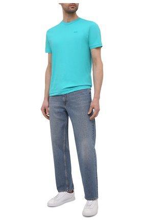 Мужская хлопковая футболка DIESEL бирюзового цвета, арт. A00400/0HAYU | Фото 2 (Материал внешний: Хлопок; Рукава: Короткие; Длина (для топов): Стандартные; Принт: Без принта; Стили: Кэжуэл)
