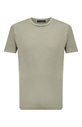 Мужская хлопковая футболка DANIELE FIESOLI хаки цвета, арт. DF 7150   Фото 1