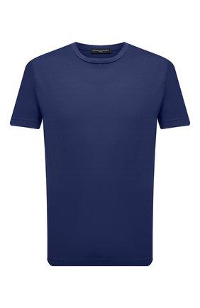 Мужская хлопковая футболка DANIELE FIESOLI темно-синего цвета, арт. DF 7150 | Фото 1 (Рукава: Короткие; Длина (для топов): Стандартные; Материал внешний: Хлопок; Принт: Без принта; Стили: Кэжуэл)