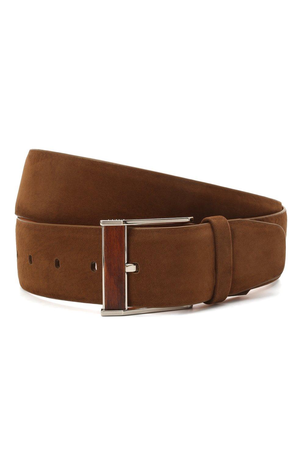 Мужской кожаный ремень ZILLI коричневого цвета, арт. MJL-CLAQE-01982/0057 | Фото 1 (Случай: Повседневный; Материал: Кожа)