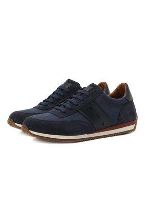 Мужские комбинированные кроссовки CORNELIANI темно-синего цвета, арт. 87TM79-1120972 | Фото 1 (Материал внутренний: Натуральная кожа; Подошва: Плоская; Материал внешний: Текстиль; Стили: Классический)