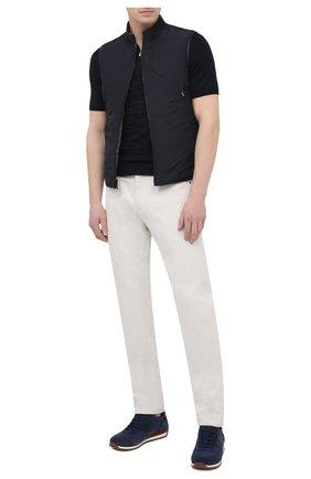 Мужские комбинированные кроссовки CORNELIANI темно-синего цвета, арт. 87TM79-1120972 | Фото 2 (Материал внутренний: Натуральная кожа; Подошва: Плоская; Материал внешний: Текстиль; Стили: Классический)