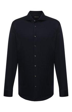 Мужская хлопковая рубашка VAN LAACK темно-синего цвета, арт. M-PER-LSF/180031/3XL | Фото 1 (Материал внешний: Хлопок; Рукава: Длинные; Длина (для топов): Стандартные; Случай: Повседневный; Воротник: Акула; Манжеты: На пуговицах; Принт: Однотонные; Стили: Кэжуэл)