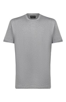 Мужская футболка из шелка и хлопка GIORGIO ARMANI серого цвета, арт. 3KSM77/SJZHZ | Фото 1