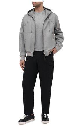 Мужская футболка из шелка и хлопка GIORGIO ARMANI серого цвета, арт. 3KSM77/SJZHZ | Фото 2