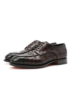Мужские кожаные дерби SANTONI темно-коричневого цвета, арт. MCC017553MC3HVVDT50   Фото 1