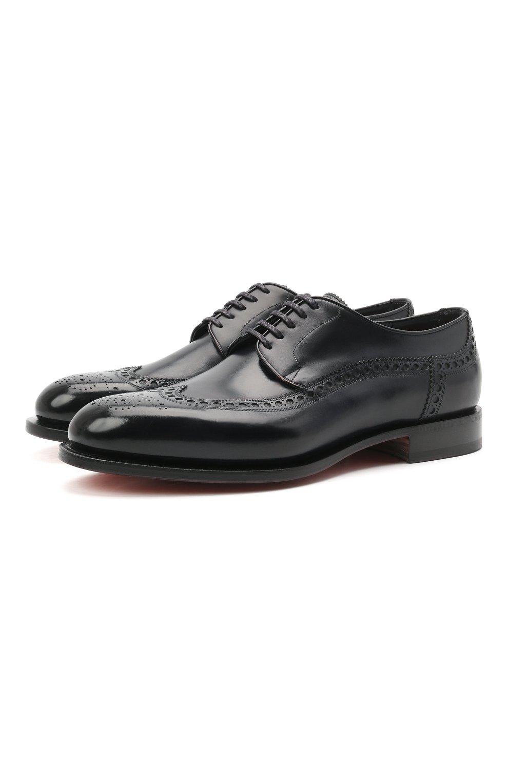 Мужские кожаные дерби SANTONI темно-синего цвета, арт. MCC017026MC3HVVDU59 | Фото 1 (Мужское Кросс-КТ: Броги-обувь; Материал внутренний: Натуральная кожа; Стили: Классический)