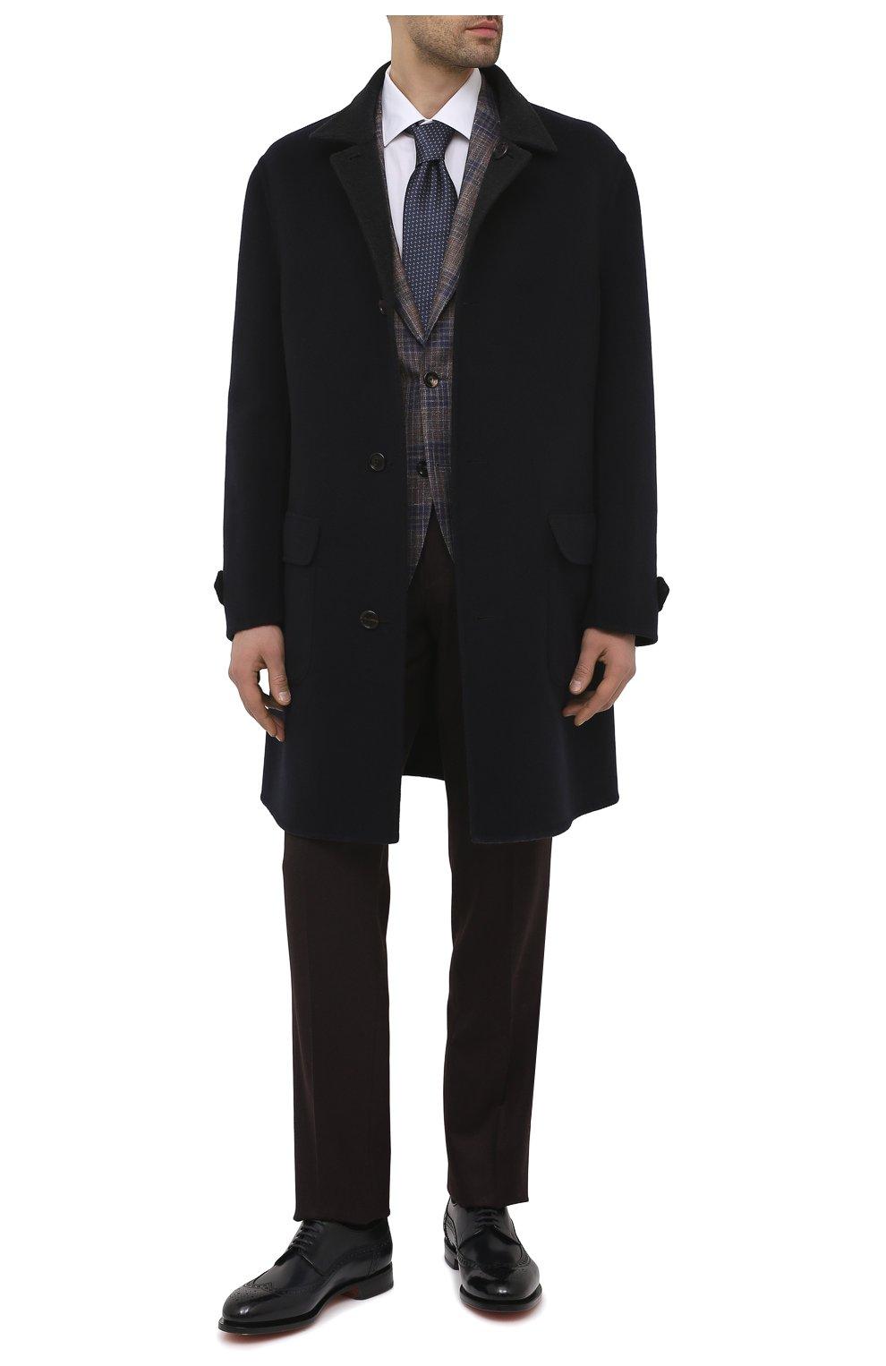 Мужские кожаные дерби SANTONI темно-синего цвета, арт. MCC017026MC3HVVDU59 | Фото 2 (Мужское Кросс-КТ: Броги-обувь; Материал внутренний: Натуральная кожа; Стили: Классический)