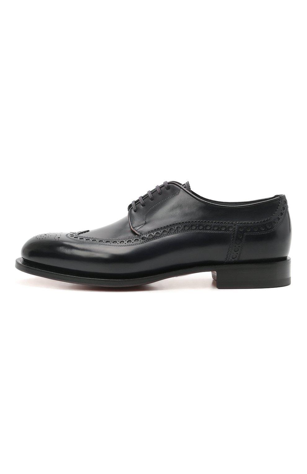 Мужские кожаные дерби SANTONI темно-синего цвета, арт. MCC017026MC3HVVDU59 | Фото 3 (Мужское Кросс-КТ: Броги-обувь; Материал внутренний: Натуральная кожа; Стили: Классический)