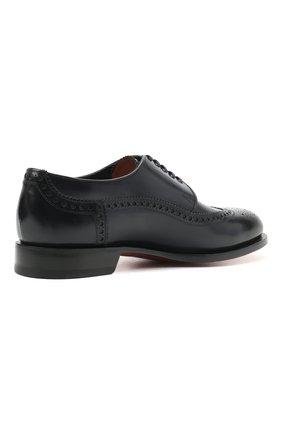 Мужские кожаные дерби SANTONI темно-синего цвета, арт. MCC017026MC3HVVDU59 | Фото 4 (Мужское Кросс-КТ: Броги-обувь; Материал внутренний: Натуральная кожа; Стили: Классический)