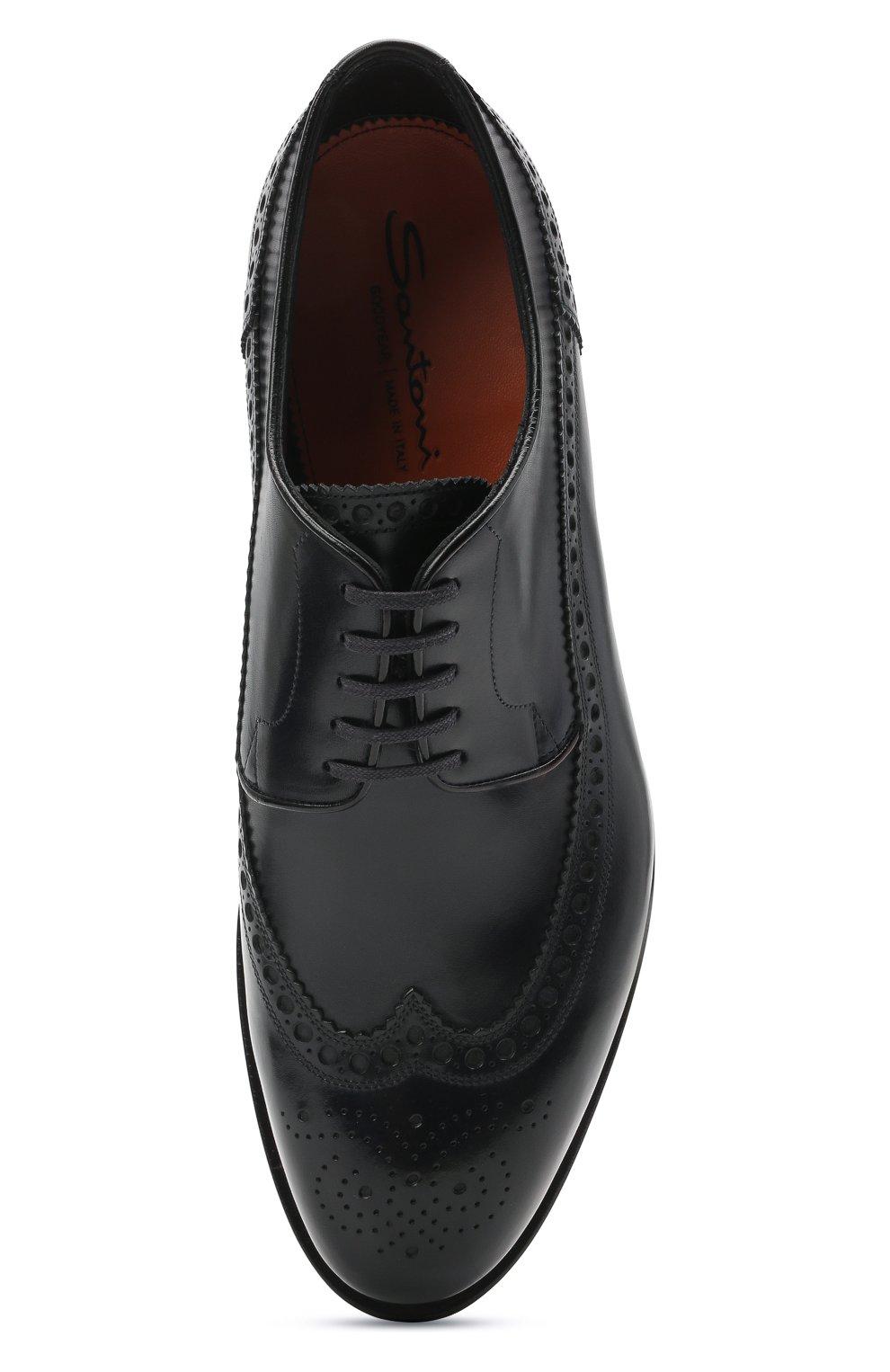 Мужские кожаные дерби SANTONI темно-синего цвета, арт. MCC017026MC3HVVDU59 | Фото 5 (Мужское Кросс-КТ: Броги-обувь; Материал внутренний: Натуральная кожа; Стили: Классический)