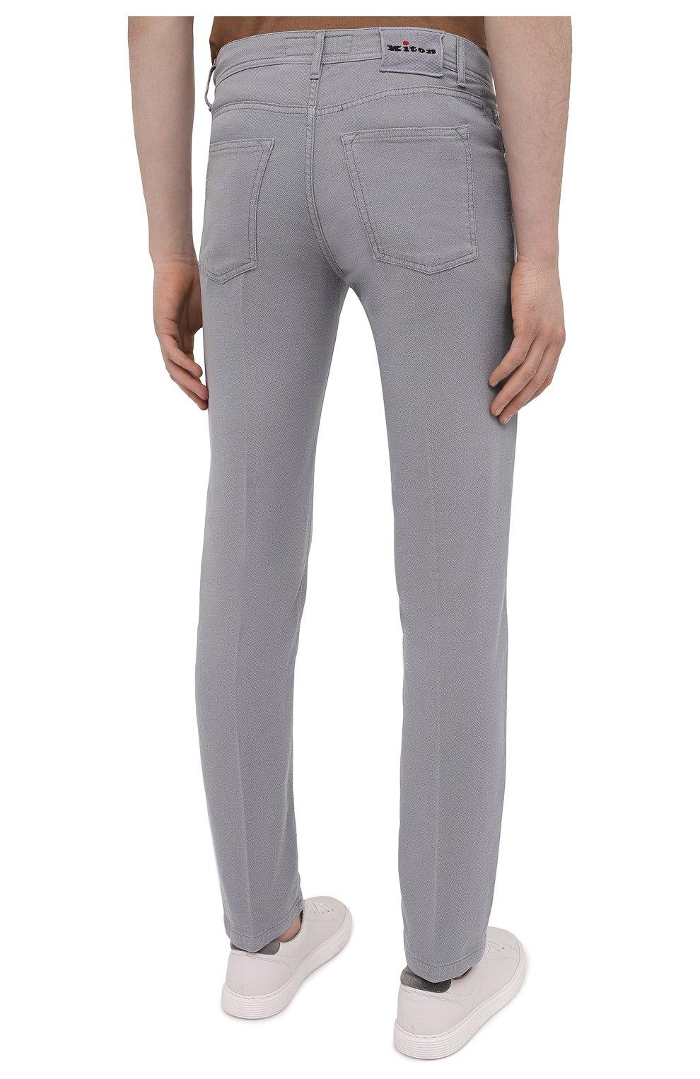 Мужские брюки KITON серого цвета, арт. UPNJSJ07T45   Фото 4