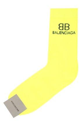 Мужские носки BALENCIAGA желтого цвета, арт. 640609/4A4B5   Фото 1 (Материал внешний: Хлопок; Кросс-КТ: бельё)