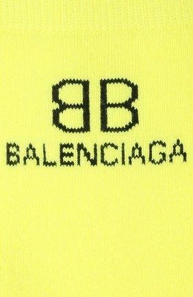 Мужские носки BALENCIAGA желтого цвета, арт. 640609/4A4B5   Фото 2 (Материал внешний: Хлопок; Кросс-КТ: бельё)