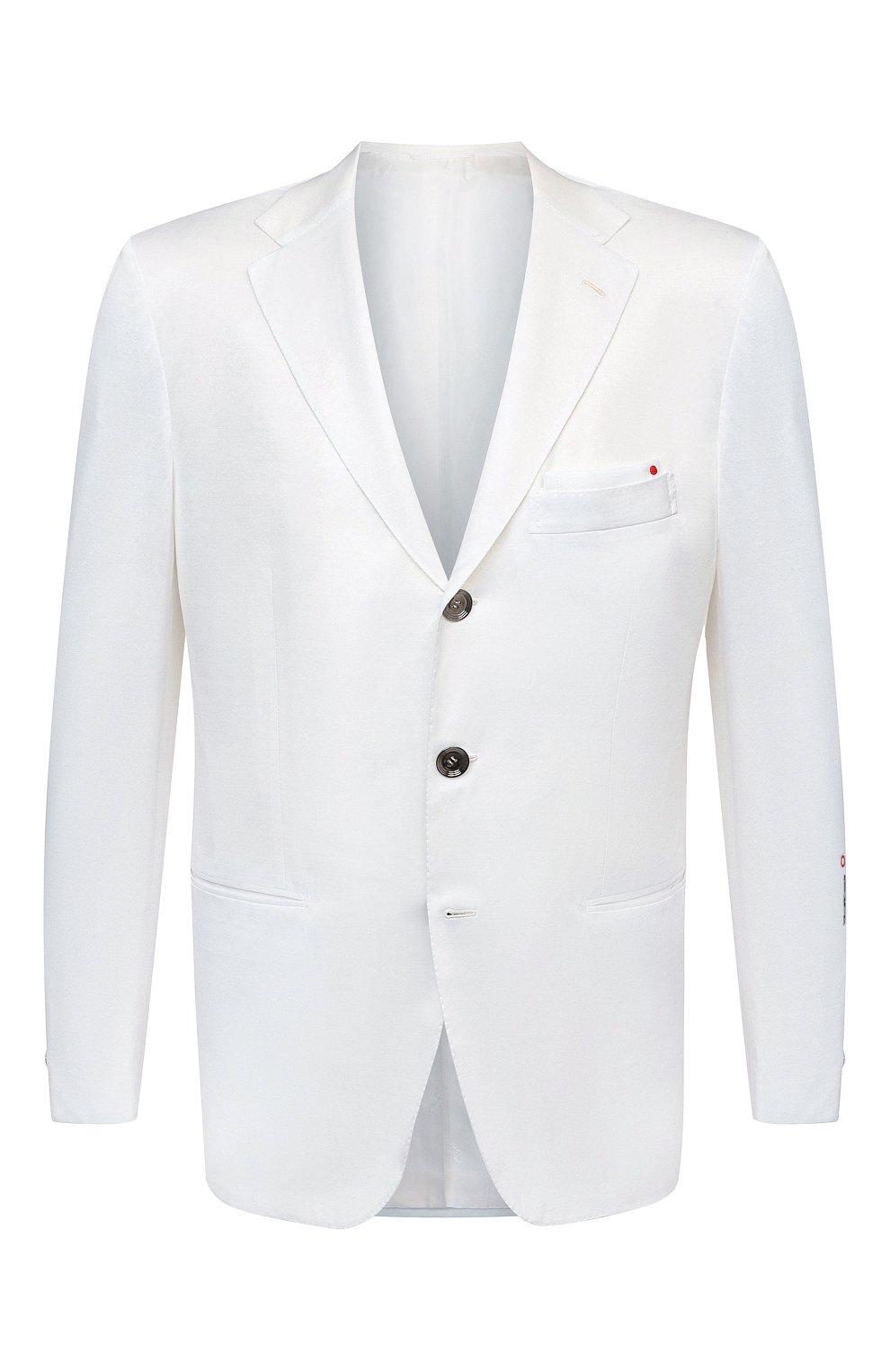 Мужской хлопковый пиджак KITON белого цвета, арт. UG289H07609   Фото 1