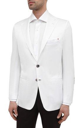 Мужской хлопковый пиджак KITON белого цвета, арт. UG289H07609   Фото 3