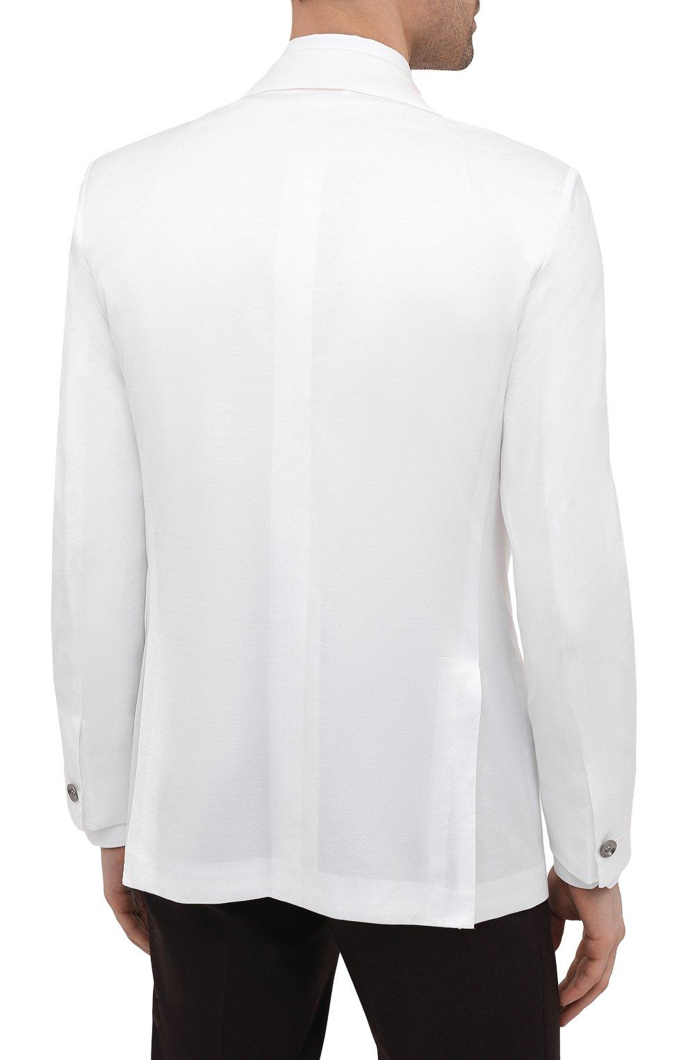 Мужской хлопковый пиджак KITON белого цвета, арт. UG289H07609   Фото 4