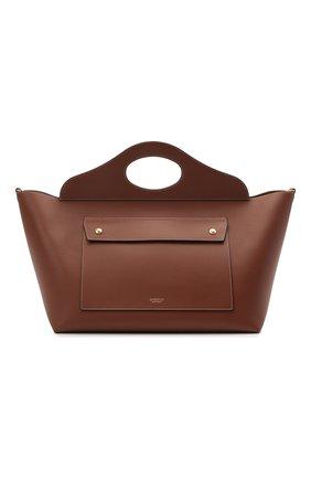 Женский сумка-тоут pocket medium BURBERRY коричневого цвета, арт. 8039048 | Фото 1 (Ошибки технического описания: Нет ширины; Материал: Натуральная кожа; Размер: medium; Сумки-технические: Сумки-шопперы)