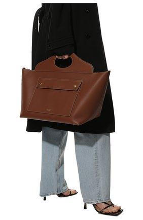 Женский сумка-тоут pocket medium BURBERRY коричневого цвета, арт. 8039048 | Фото 2 (Ошибки технического описания: Нет ширины; Материал: Натуральная кожа; Размер: medium; Сумки-технические: Сумки-шопперы)
