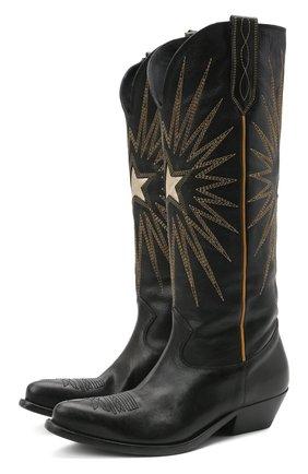 Женские кожаные сапоги wish star GOLDEN GOOSE DELUXE BRAND черного цвета, арт. GWF00135.F000571   Фото 1