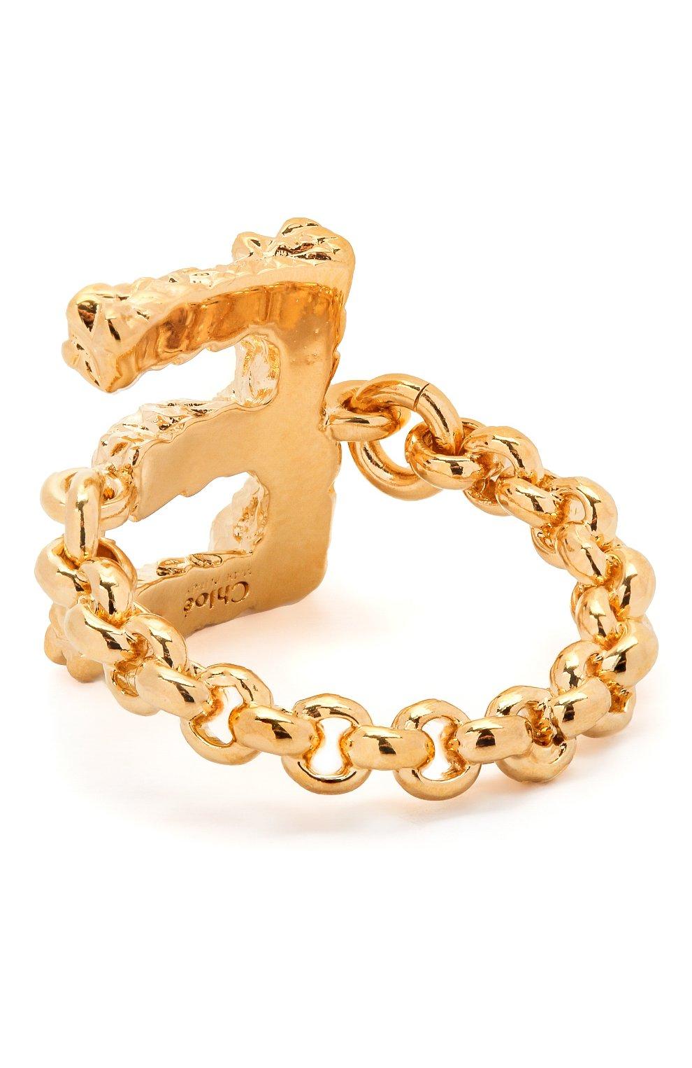 Женское кольцо alphabet e CHLOÉ золотого цвета, арт. CHC21SFR0ECB7 | Фото 2