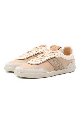 Женские комбинированные кроссовки TOD'S бежевого цвета, арт. XXW68C0DP30Q7G | Фото 1