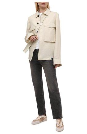 Женские комбинированные кроссовки TOD'S бежевого цвета, арт. XXW68C0DP30Q7G | Фото 2