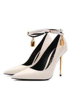 Женские кожаные туфли padlock TOM FORD белого цвета, арт. W2271T-LKD002 | Фото 1