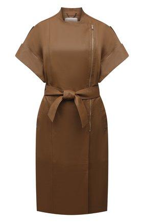 Женский кожаный плащ DOROTHEE SCHUMACHER коричневого цвета, арт. 244101/EXCITING C00LNESS | Фото 1