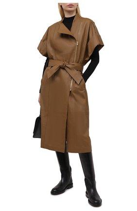 Женский кожаный плащ DOROTHEE SCHUMACHER коричневого цвета, арт. 244101/EXCITING C00LNESS | Фото 2