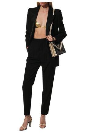 Женские кожаные босоножки sue SAINT LAURENT бежевого цвета, арт. 650702/EX7FF | Фото 2 (Каблук высота: Высокий; Материал внутренний: Натуральная кожа; Подошва: Плоская; Каблук тип: Устойчивый)