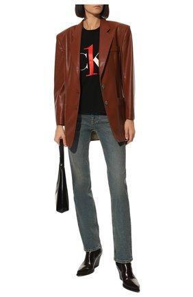 Женская хлопковая футболка CALVIN KLEIN черного цвета, арт. QS6436E   Фото 2