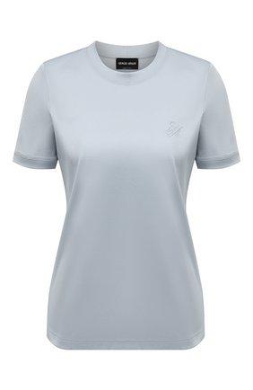 Женская хлопковая футболка GIORGIO ARMANI светло-голубого цвета, арт. 3KAM56/AJVIZ | Фото 1