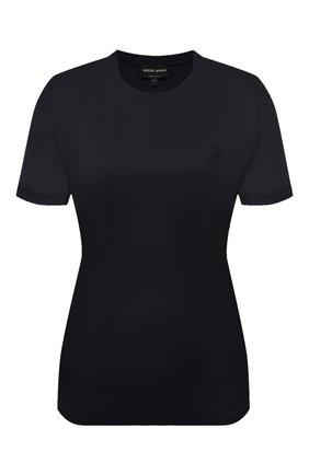 Женская хлопковая футболка GIORGIO ARMANI темно-синего цвета, арт. 3KAM56/AJVIZ | Фото 1