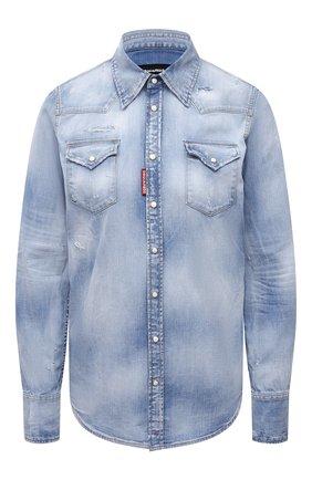 Женская джинсовая рубашка DSQUARED2 голубого цвета, арт. S72DL0671/S30341 | Фото 1 (Материал внешний: Хлопок, Деним; Рукава: Длинные; Длина (для топов): Стандартные; Кросс-КТ: Деним; Женское Кросс-КТ: Рубашка-одежда; Стили: Гранж; Принт: С принтом)