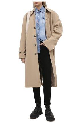 Женская джинсовая рубашка DSQUARED2 голубого цвета, арт. S72DL0671/S30341 | Фото 2 (Материал внешний: Хлопок, Деним; Рукава: Длинные; Длина (для топов): Стандартные; Кросс-КТ: Деним; Женское Кросс-КТ: Рубашка-одежда; Стили: Гранж; Принт: С принтом)