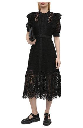 Женское хлопковое платье SELF-PORTRAIT черного цвета, арт. SS21-003M   Фото 2