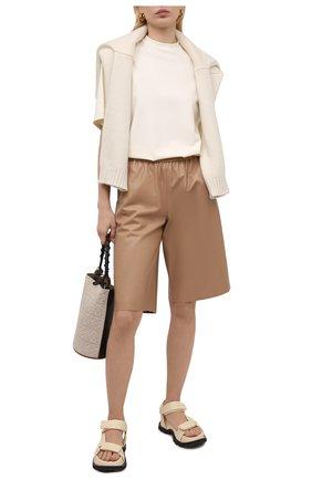Женские кожаные шорты DROME бежевого цвета, арт. DPD7034P/D400P | Фото 2