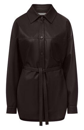 Женская кожаная рубашка DROME темно-коричневого цвета, арт. DPDA455P/D400P | Фото 1