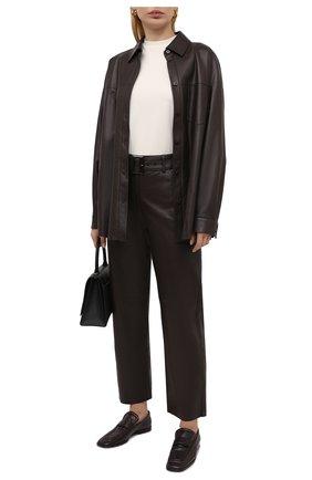 Женская кожаная рубашка DROME темно-коричневого цвета, арт. DPDA455P/D400P | Фото 2