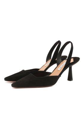 Женские замшевые туфли AQUAZZURA черного цвета, арт. AIMMIDL0-SUE-000 | Фото 1