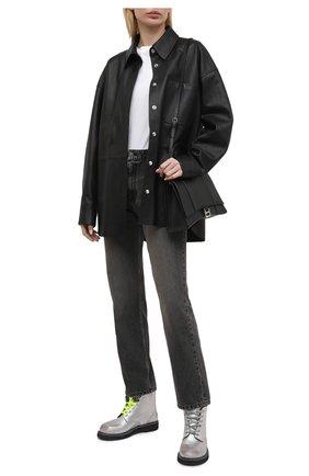 Женские кожаные ботинки ele GOLDEN GOOSE DELUXE BRAND серебряного цвета, арт. GWF00187.F001200 | Фото 2