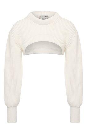 Женский хлопковый пуловер ALEXANDER MCQUEEN светло-бежевого цвета, арт. 659532/Q1AUF | Фото 1