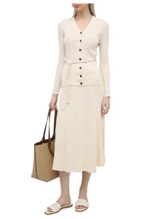 Женские кожаные шлепанцы ALEXANDER MCQUEEN светло-бежевого цвета, арт. 651902/WHZX1   Фото 2 (Материал внутренний: Натуральная кожа; Каблук высота: Низкий; Подошва: Плоская)