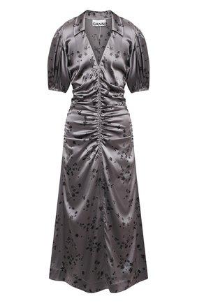 Женское шелковое платье GANNI темно-серого цвета, арт. F5815 | Фото 1
