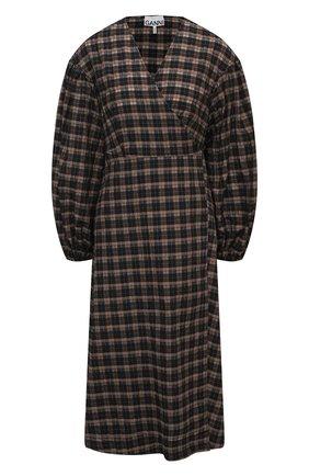Женское хлопковое платье GANNI темно-коричневого цвета, арт. F5827 | Фото 1