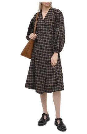 Женское хлопковое платье GANNI темно-коричневого цвета, арт. F5827 | Фото 2
